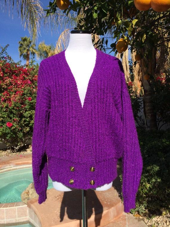 Bright Purple Metallic 80's cardigan,Size Large.