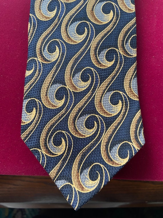 1990s Blue and Gold Silk Tie from Z Inc.