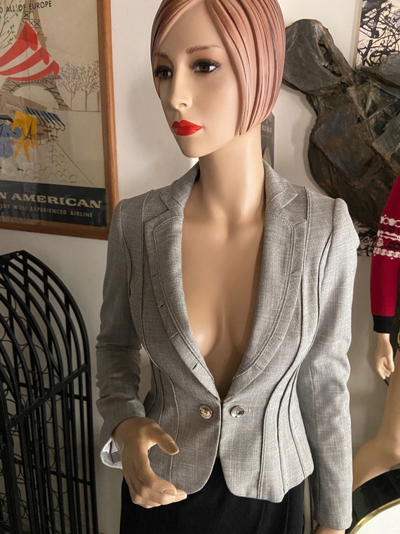 Pretty Grey Low Cut Blazer From White House Black Market Size 00