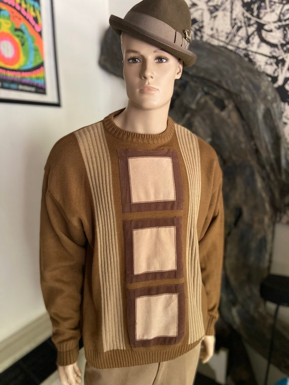 Vintage 1990s Green and Tan Men's Sweater with Microsuede Box Pattern Size XXL from Trutus Biancara