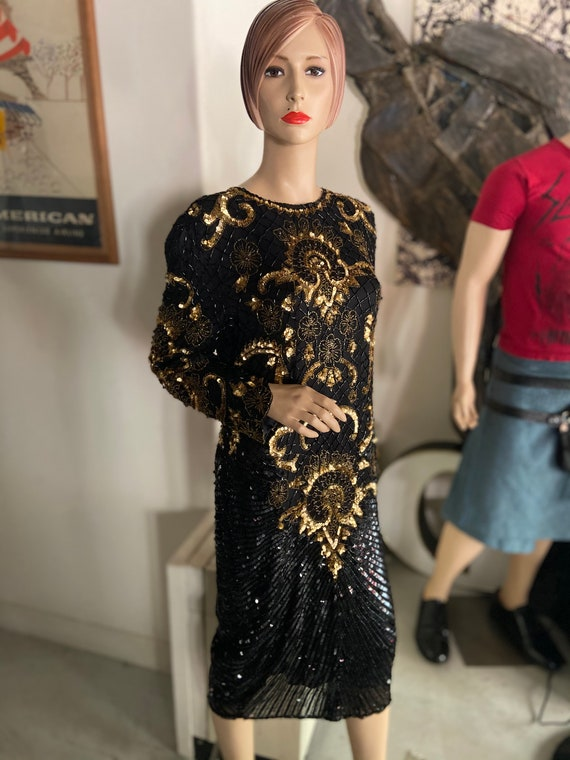 Vintage 1980s Black Silk and Gold Beaded and Sequined Gown