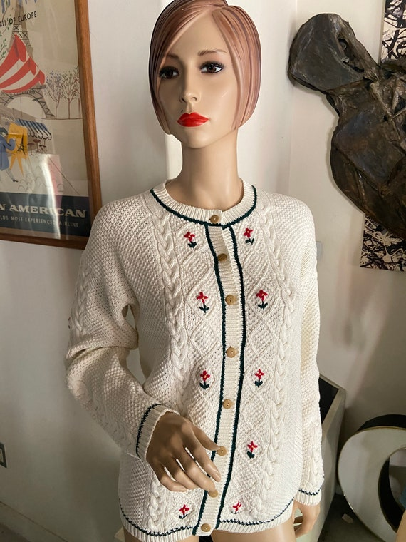 Cute White Cotton Cardigan with Tiny Flowers Made in Hong Kong