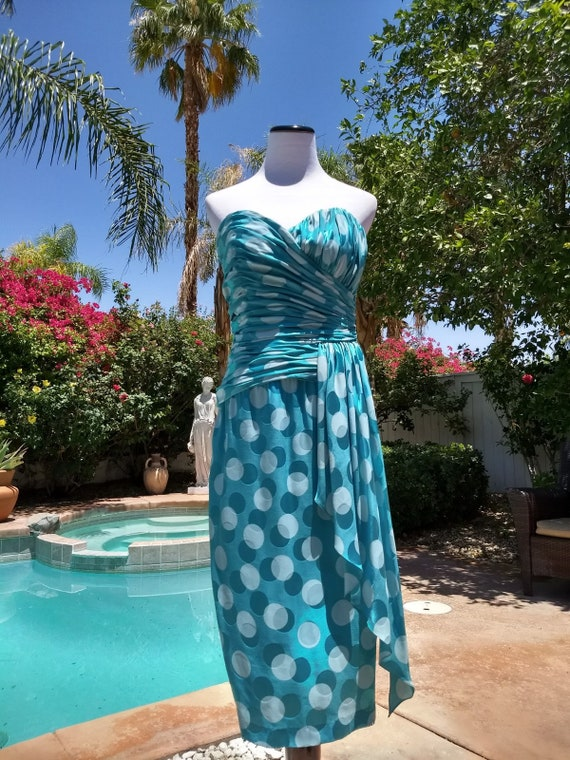 A. J. Bari,Silk Polka Dot Cocktail/Evening Dress,Vintage 80's,Robin Eggs Blue, Size 8.