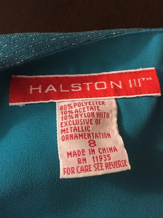 Glamorous Vintage 1980s Halston III Aqua Blue Dre… - image 5