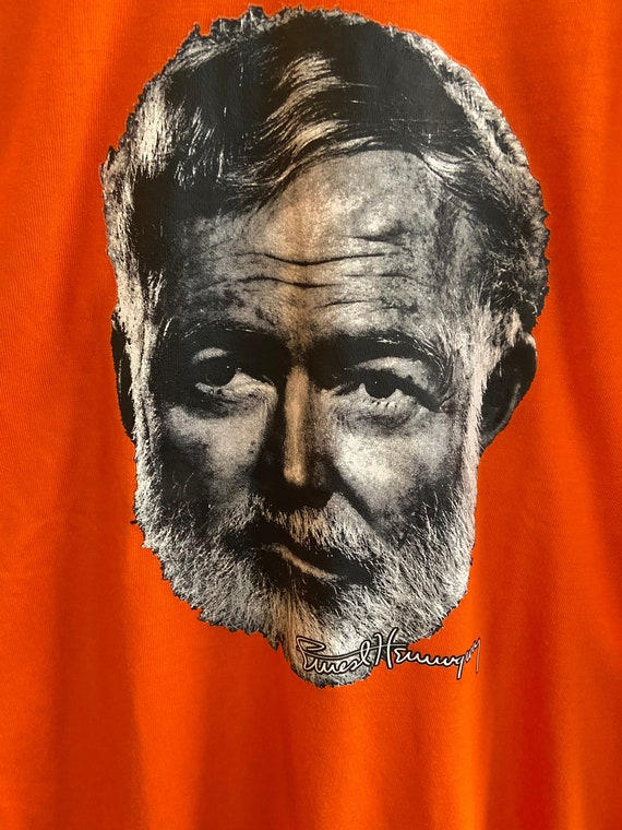Bright Orange Papa Ernest Hemingway Tee T-Shirt Sz M