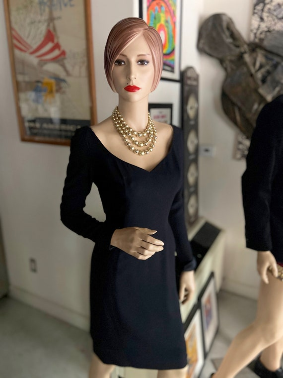 Gorgeous  Mr. Blackwell 1960s Vintage Late 1950s/Early 1960s Black Cocktail Dress from Mr. Blackwell