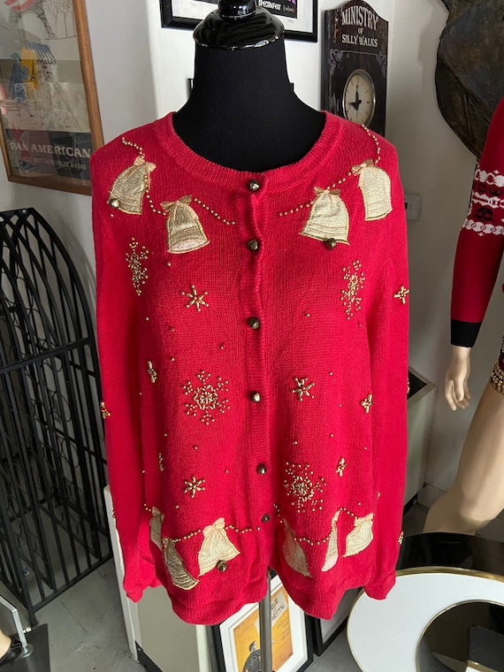 "Cute Red ""Ugly"" Christmas Sweater Cardigan Featuring Working Bells and Metallic Snowflakes"