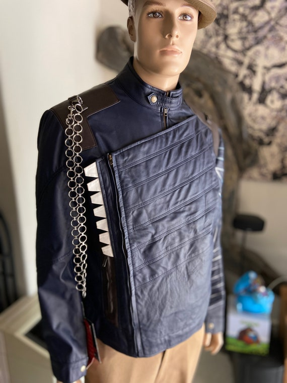 Upcycled Bucky Barnes Avengers Infinity Wars Faux Leather Moto Jacket Size XL