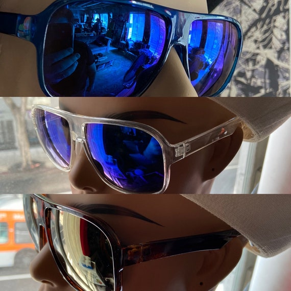 Men's/Unisex Plastic Sunglasses in Clear, Brown, and Blue