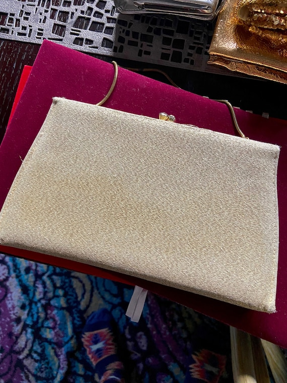 Vintage 1960s Gold Lame Clutch with Tuckable Metal Strap