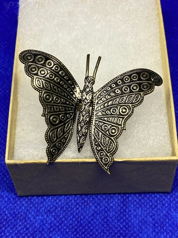 Pretty Copper-Toned Butterfly Ring Made in Spain with Adjustable Band