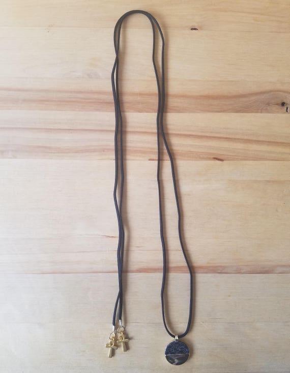Egyptian Pendant Ankh Leather Wrap Choker Necklace Black Gold