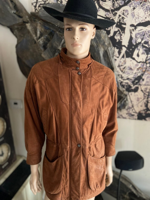 Cool Vintage 1990s Men's Leather Adventure Bound By Wilson's Car Coat Size Medium