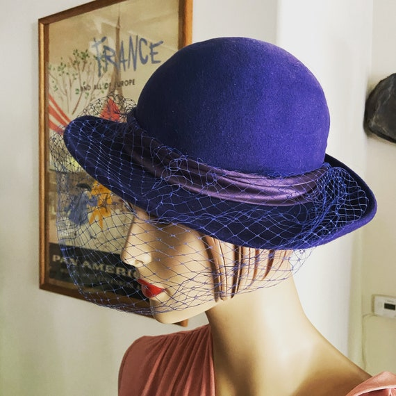 Beautiful 1970s/80s  Miss Bierner design Women's Felt Wide Brim Hat with Netted Veil,Michael Howard 100% Wool, Made in U S A