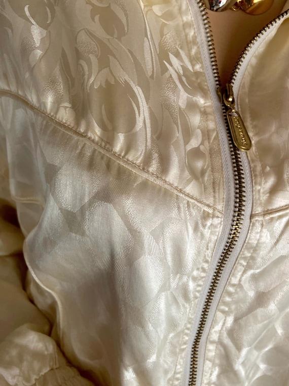 Vintage 1990s Cream Colored Silk Bomber bu FUDA I… - image 4