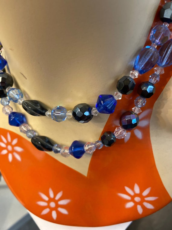 Absolutely Fabulous Blue and Clear Glass Beaded MidCentury Choker Necklace