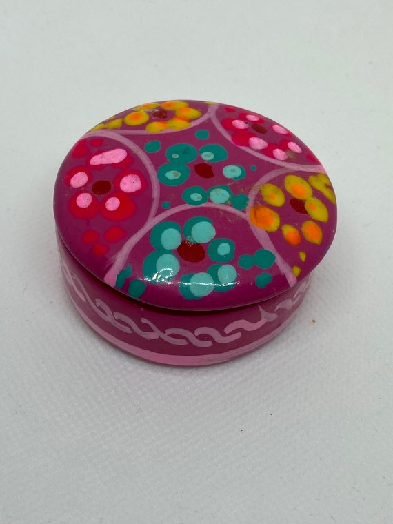 Pretty in Pink Mexican Painted Glazed Clay Trinket Box