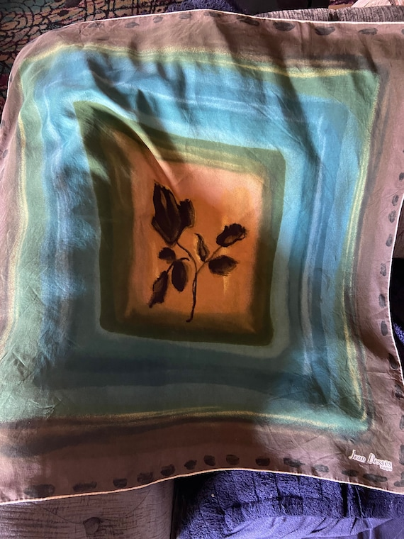 Gorgeous Oversized 1950s Rose Print Silk Scarf from Jean Desses