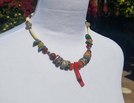 Tibetan Bone Prayer Bead Necklace Coral Agate, Turquoise ,Jasper
