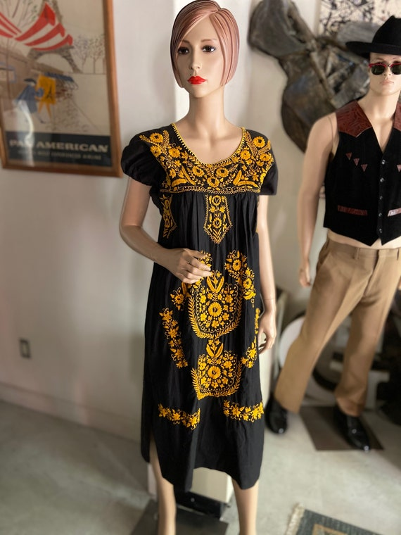 Pretty Black and Goldenrod Embroidered Cotton Mexican Dress