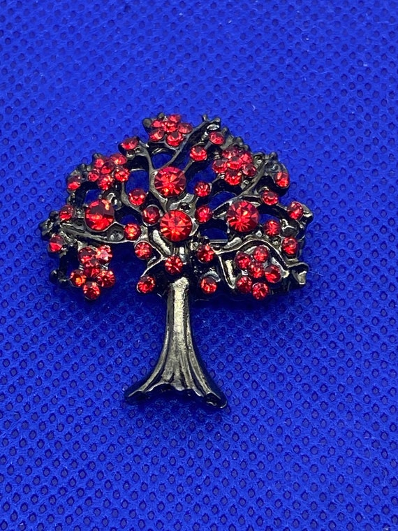 Gorgeous Red Rhinestone Tree of Life Brooch