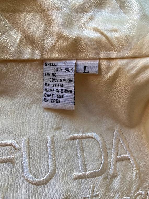 Vintage 1990s Cream Colored Silk Bomber bu FUDA I… - image 10
