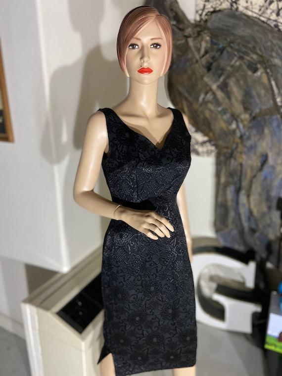 Vintage 1950s Black Damask Wiggle Dress