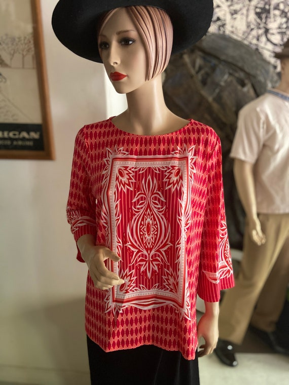 Bright Red Bob Mackie Wearable Art Blouse Size Large