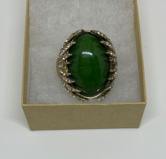 Elegant Cocktail Ring with Rhinestones and Faux Green Gem with Watchband for Comfortable One Size Fit