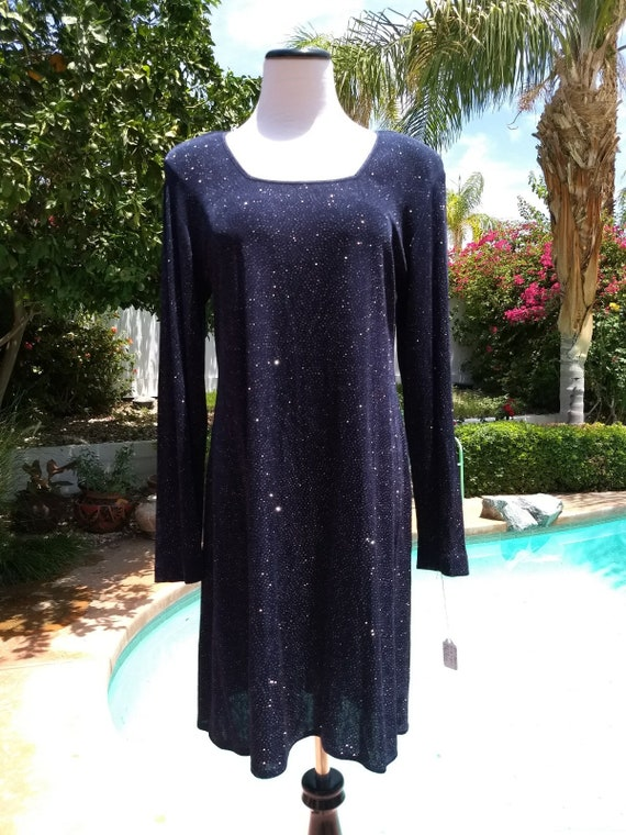 Cute Midnight Blue Sparkly Loose Fitting Dress, Size 14.