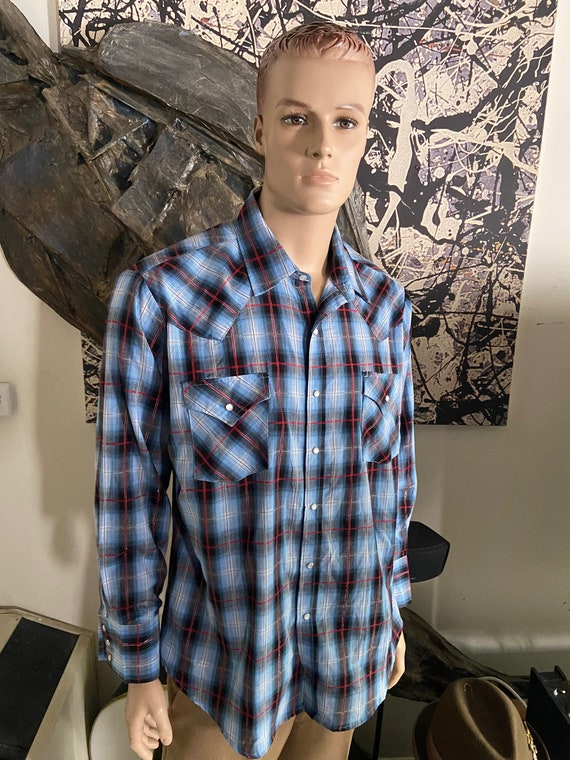 Men's Ely Western Wear Blue Plaid Shirt with Gold Threading and Pearl Snap Buttons Size XL