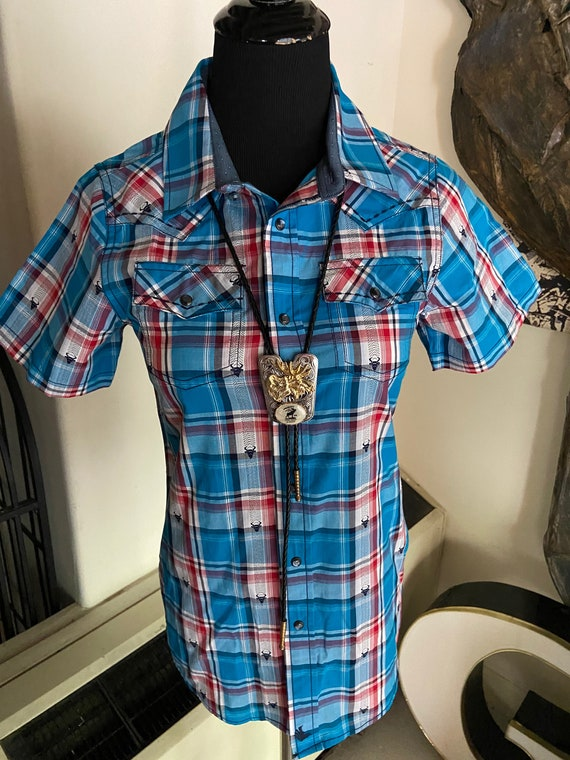 Extra Small Cody James Western Shirt with Snap Buttons and Steer Embroidery