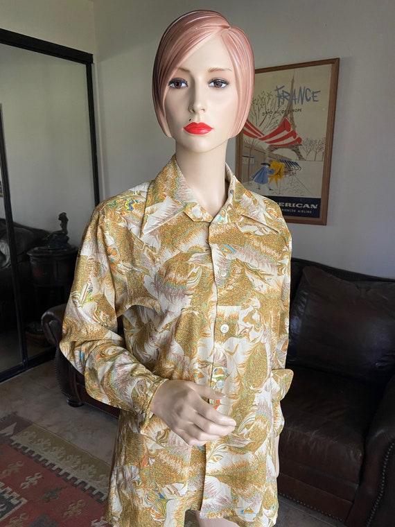 Vintage 1970s Campus Studio One Unisex Button Up Disco Shirt Size M