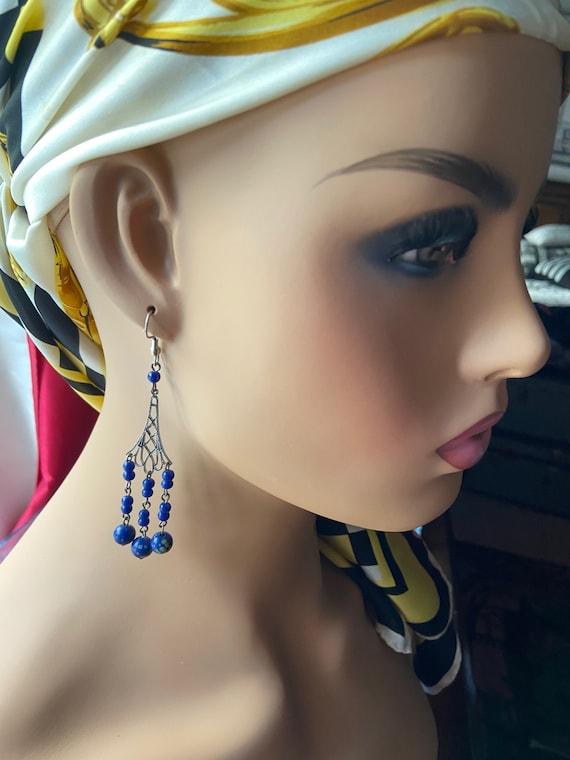 Cute Vintage 1980s Polymer Clay Flowered Ball Chandelier Earrings