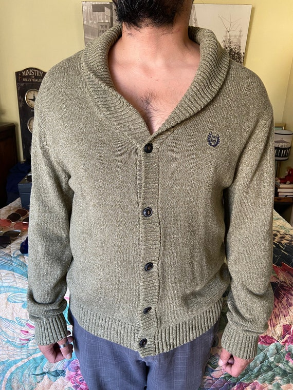 Men's 1990s Chaps Shawl-Collared Cardigan Sweater Sz L