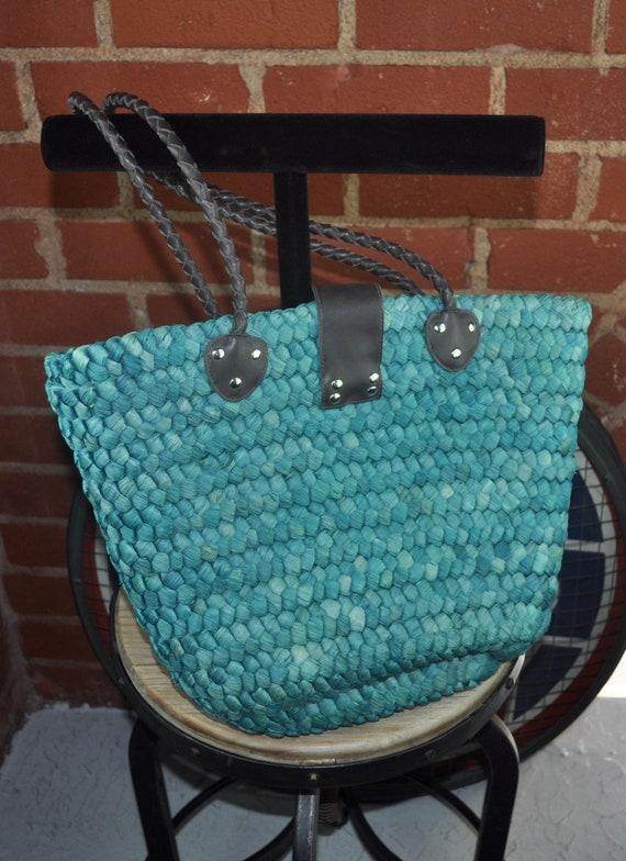 Oversized Blue Green Straw Market/Beach Bag with Leather Handles and Closure