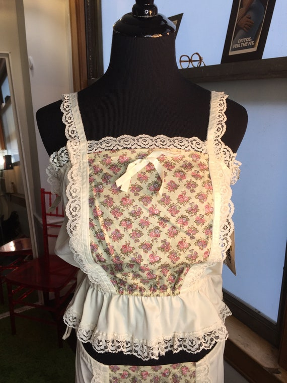 Vintage 1970s NWT Two Piece Flowered and Lace Polyester Tank and Skirt from Wild Honey and Bullocks Wilshire