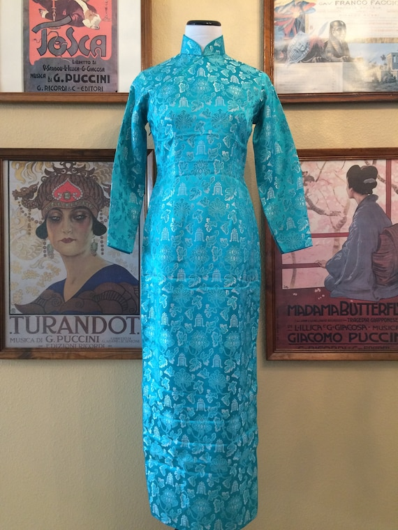 Gorgeous Turquoise Blue Cheongsam Long Sleeve Size Small