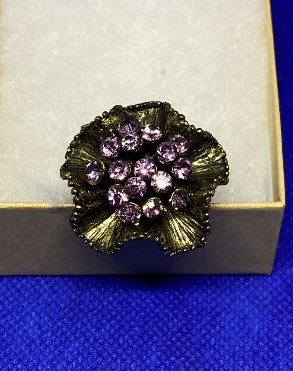 Lovely Copper Toned Oversized Statement Ring with Purple Rhinestone Bouquet and Adjustable Band