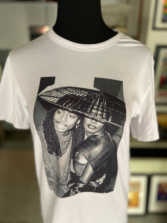 Grace Jones and Rick James Fitted Tee Size Small