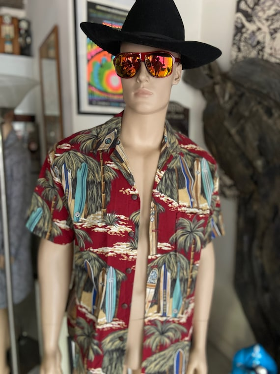 Mens Dark Red Hawaiian Shirt with Surfboard Motif from Hallelujah Hawaiian Shirts with Coconut Buttons