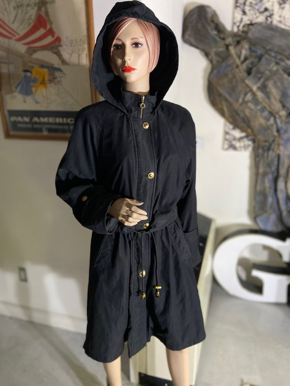 Gorgeous 1990s Jean-Louis Scherrer Black Coat with Hood and Branded Gold Buttons Size Small