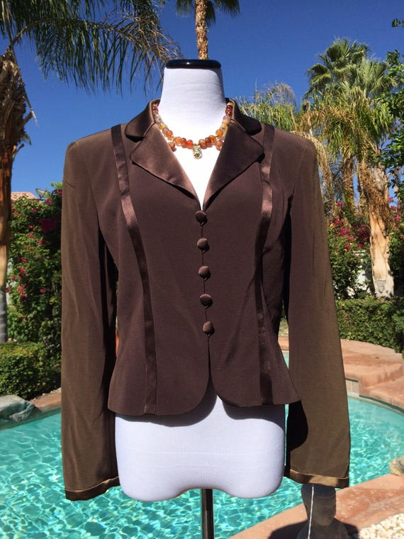 Oleg Cassini Classy Chocolate Brown Lined Jacket with Satin accents, 1980's,Oleg Cassini Black Tie Label,Size 6