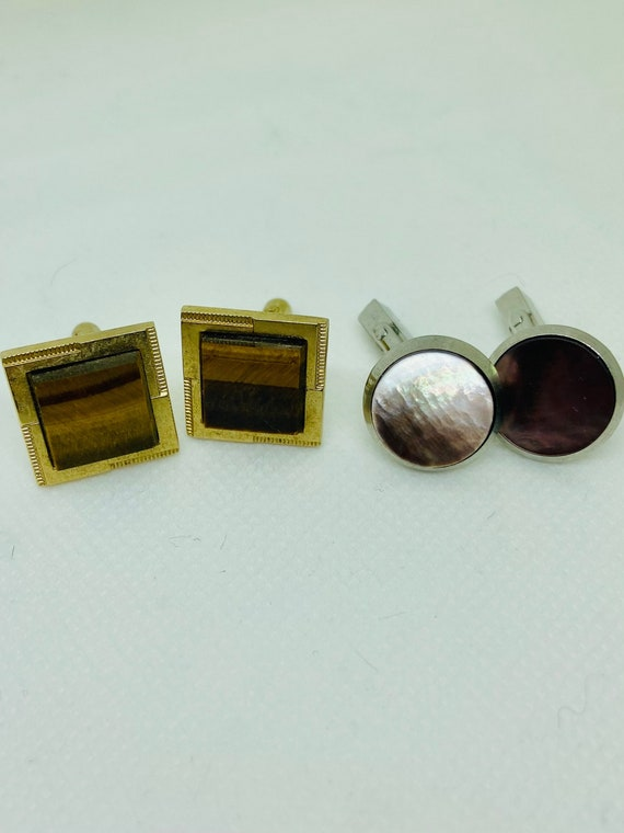 Lot of Two Sets Vintage 1960s Cufflinks Featuring Tiger Eye and Abalone