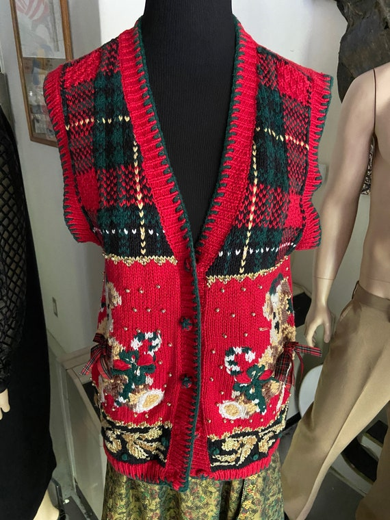 Cute or Ugly? Women's Christmas Sweater Vest with Bear Motif and Gold Beads Size M