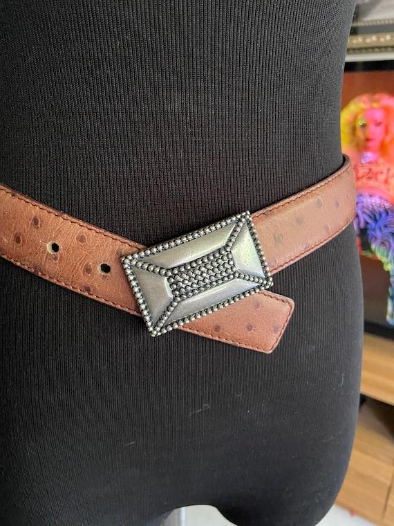 Fancy Tan Escada Ostrich Leather Belt