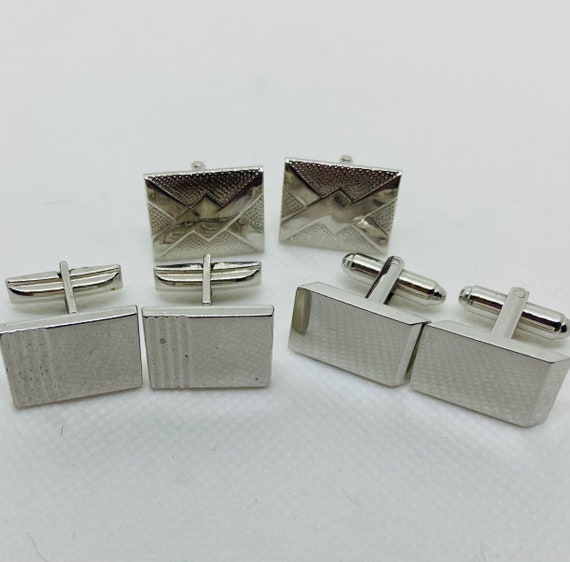 Lot of 3 Silver Toned Vintage 1960s Cufflinks Cuff Links