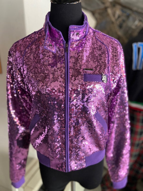 Gorgeous Purple Grape Colored Sequined Jacket from Married to the Mob Upcycled with Unicorn Enamel Pin