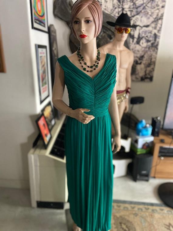 Beautiful 1950s Emerald Green Grecian Style Formal