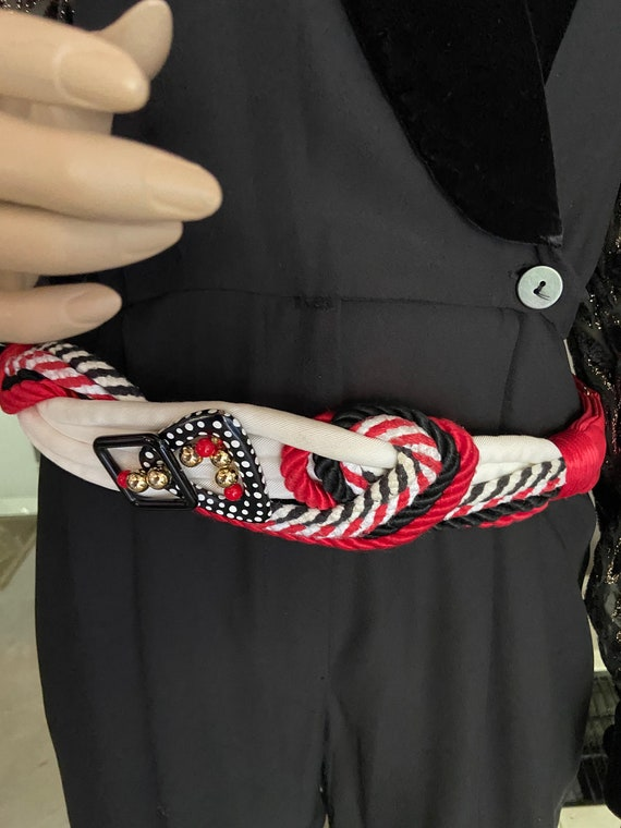 Vintage 1980s Red, Cream, and Black Art Belt from Rhea